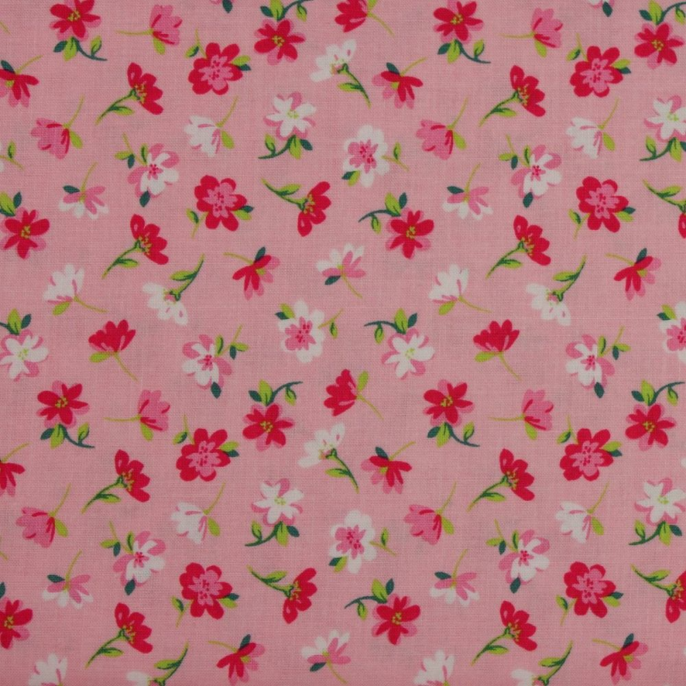 Pink and White flowers on pink from the Pretty Bunnies collection by Riley