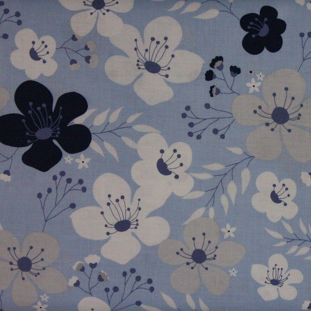 Riley Blake - Something Borrowed - Main Floral print on mid blue