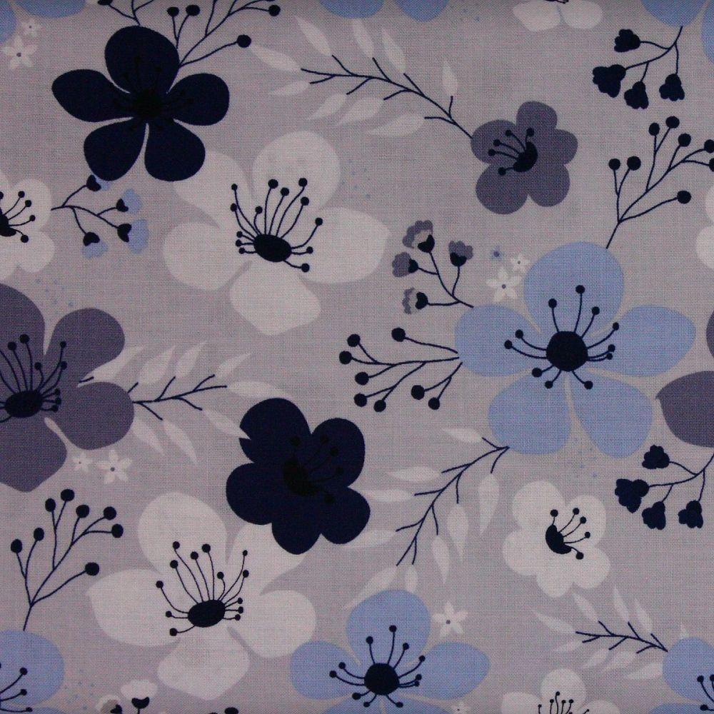 Riley Blake - Something Borrowed - Main Floral print on light grey