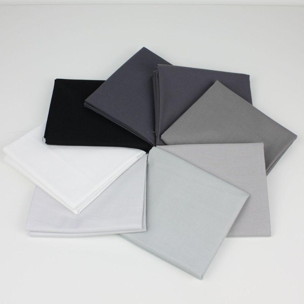 Grey, Black & White 8 Fat Quarter plain fabric bundle (price includes 1st c