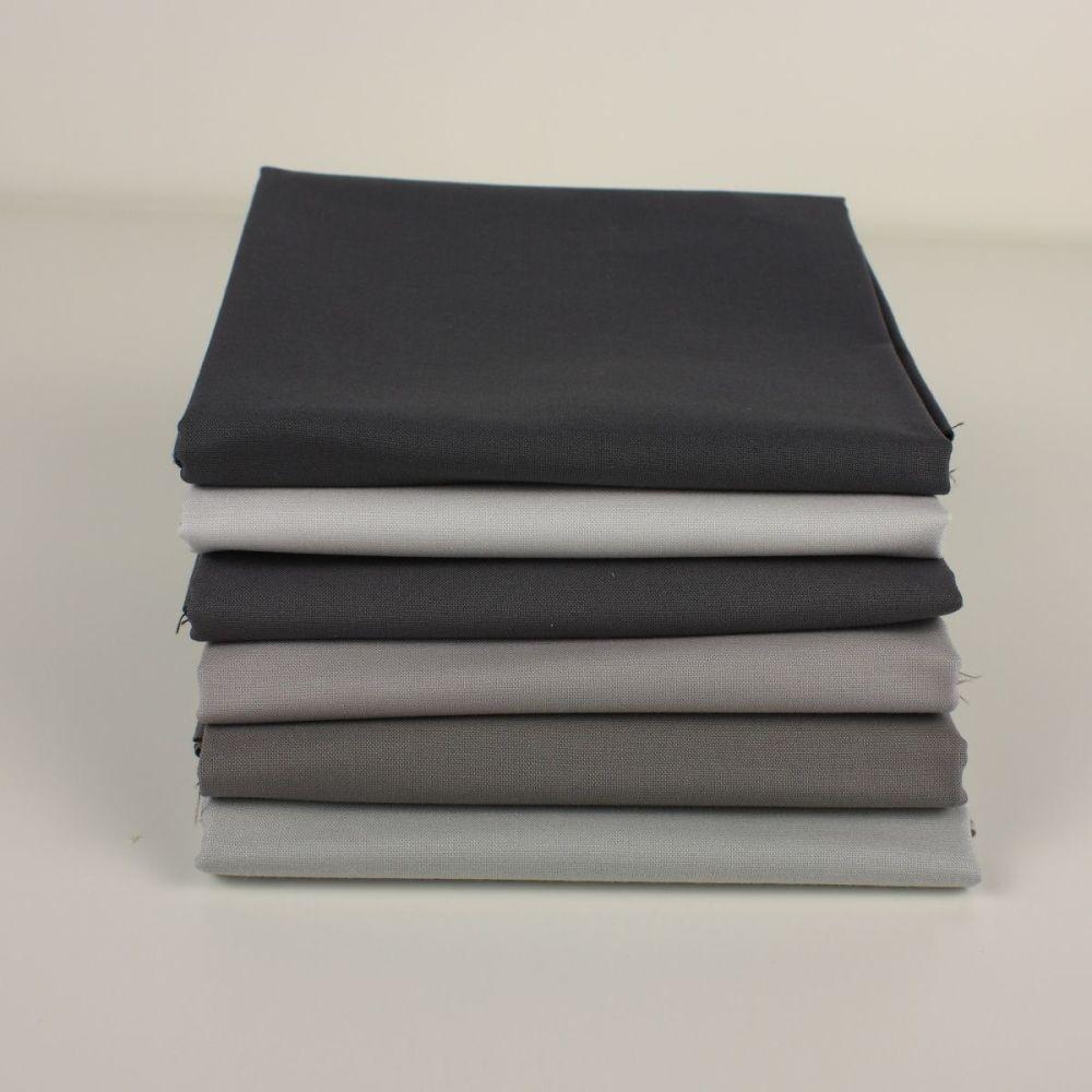 Grey 6 Fat Quarter plain fabric bundle (price includes 1st class delivery)