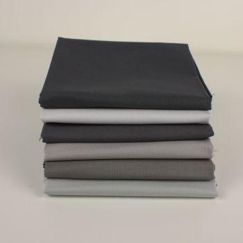 Grey 6 Fat Quarter plain fabric bundle