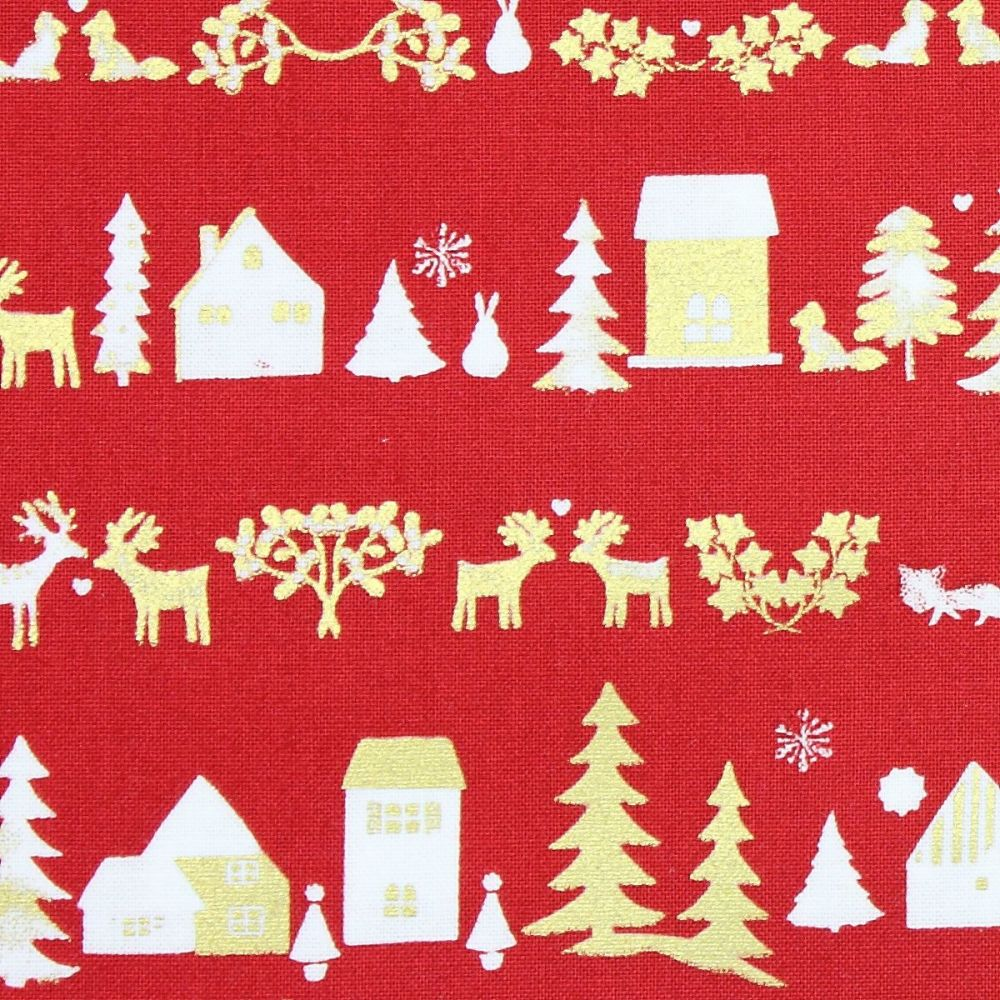 Christmas Fabric, Christmas town on red (£10 per metre)