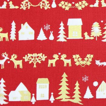 Christmas Fabric, Christmas town on red (£10pm)