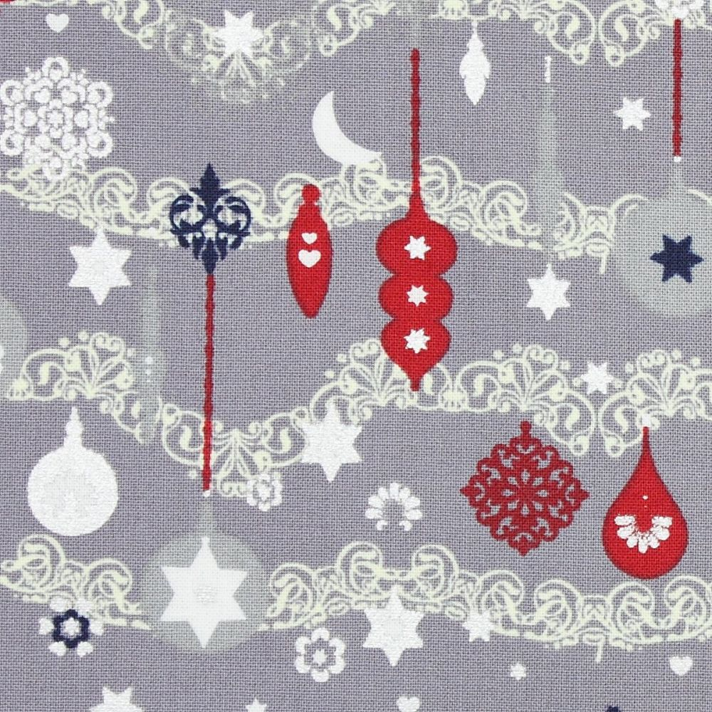Christmas Fabric, Christmas baubles on silver (£10 per metre)