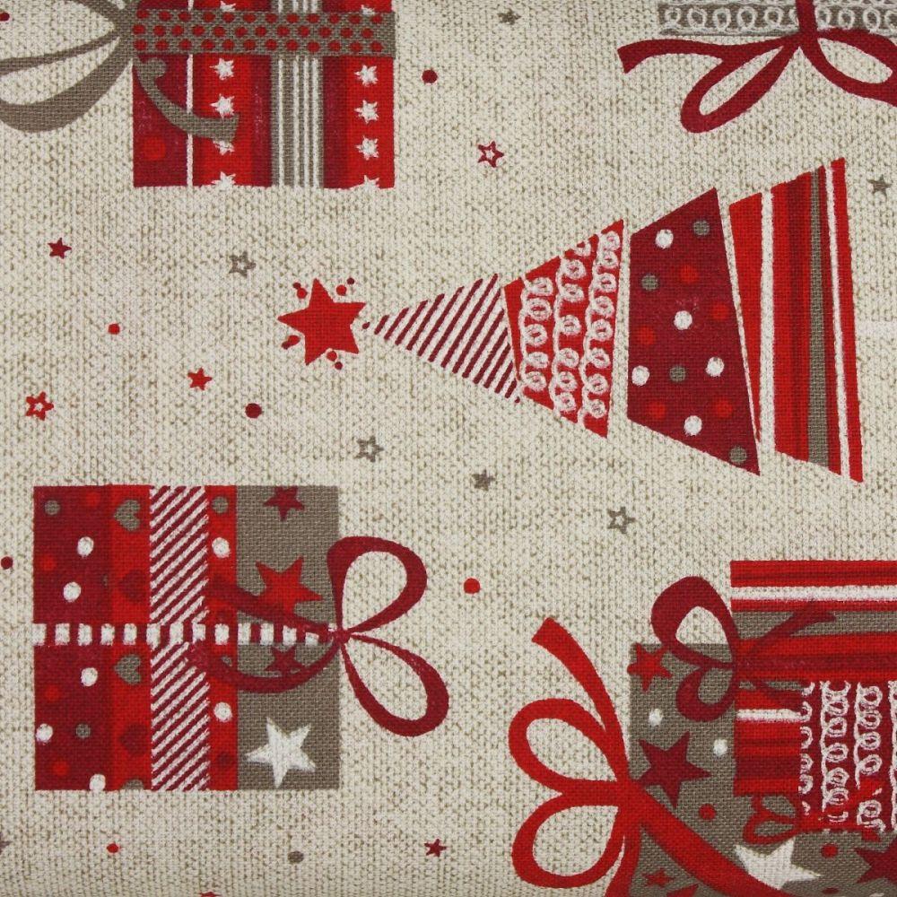 Christmas Soft Furnishings Fabric, Christmas Gifts and Trees (£10 per metre