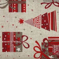 Christmas Soft Furnishings Fabric, Christmas Gifts and Trees - price is per metre.