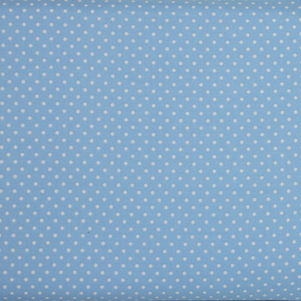 2mm White Spots on Sky Blue (148cm wide fabric)