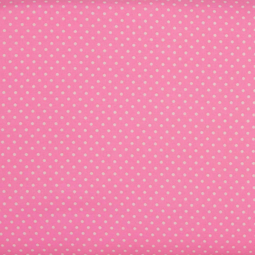 2mm White Spots on Candy Pink (148cm wide fabric)