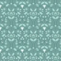 Lewis and Irene Teal Mono Floral Metallic Fat Quarter