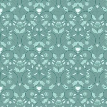 Lewis and Irene Teal Mono Floral Metallic Fat Quarter (£12pm)