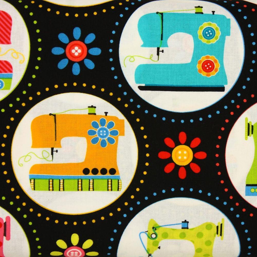Benartex, Sew Excited, Sewing Machines on Black