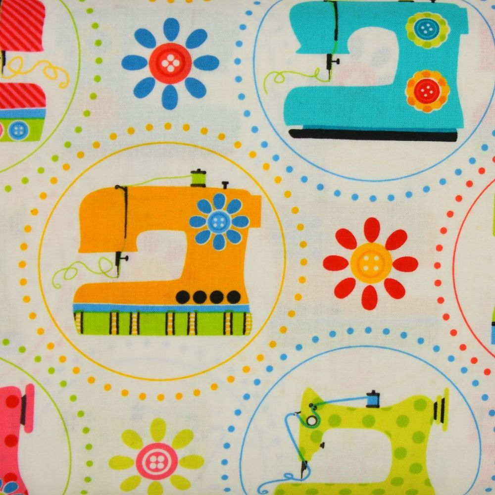 Benartex, Sew Excited, Sewing Machines on White