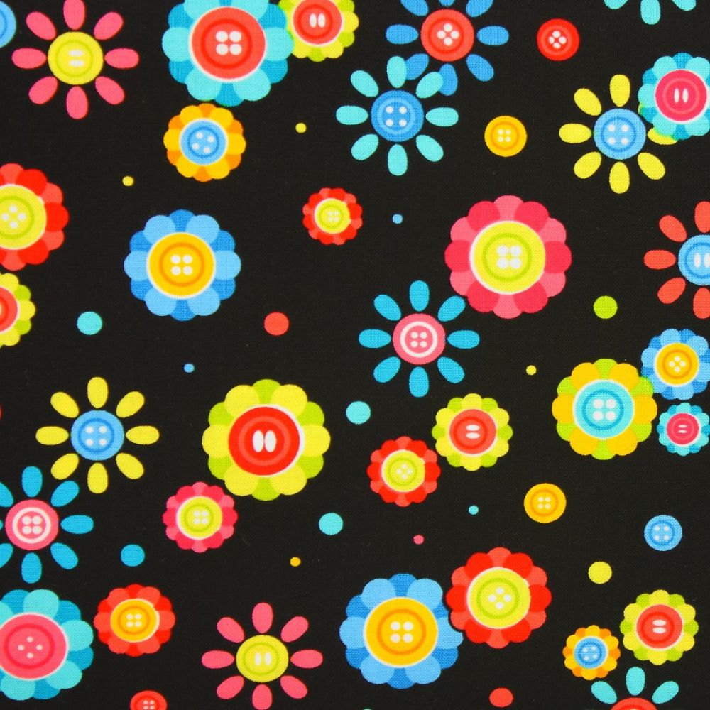 Benartex, Sew Excited, Button Flowers on Black