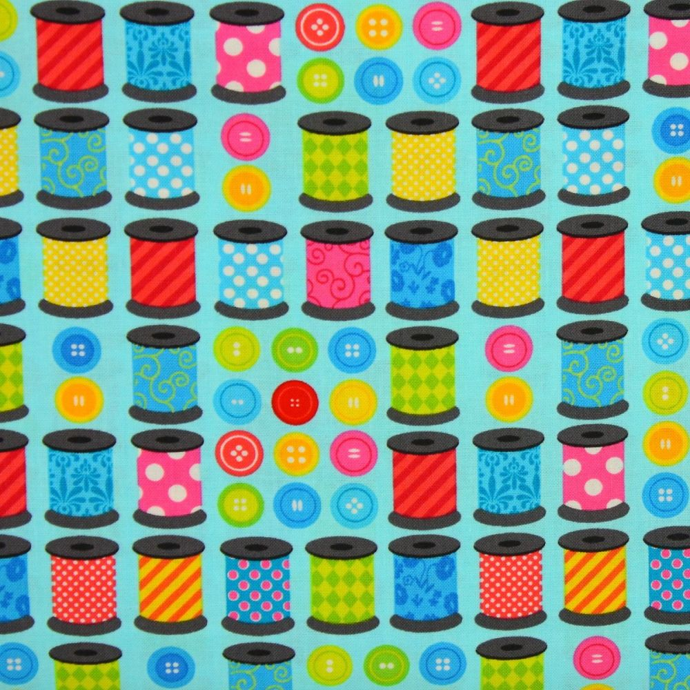 Benartex, Sew Excited, Thread Spools and Buttons on Turquoise