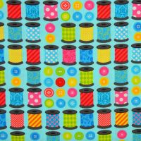 Benartex, Sew Excited, Thread Spools and Buttons on Turquoise (£13pm)