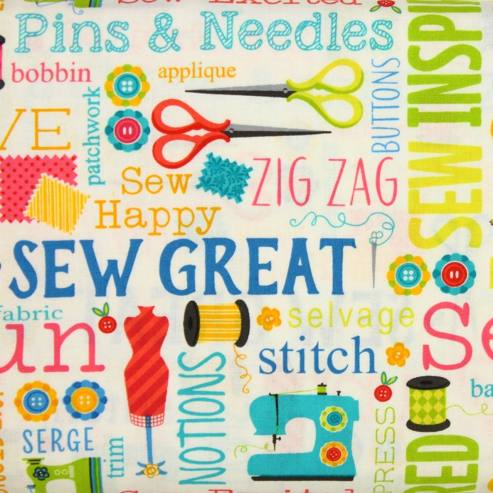 Benartex, Sew Excited, Sewing Words on White