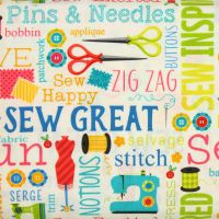 Benartex, Sew Excited, Sewing Words on White (£13pm)