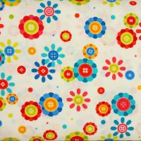 Benartex, Sew Excited, Button Flowers on White (£13pm)