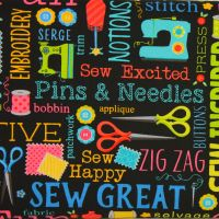 Benartex, Sew Excited, Sewing Words on Black (£13pm)
