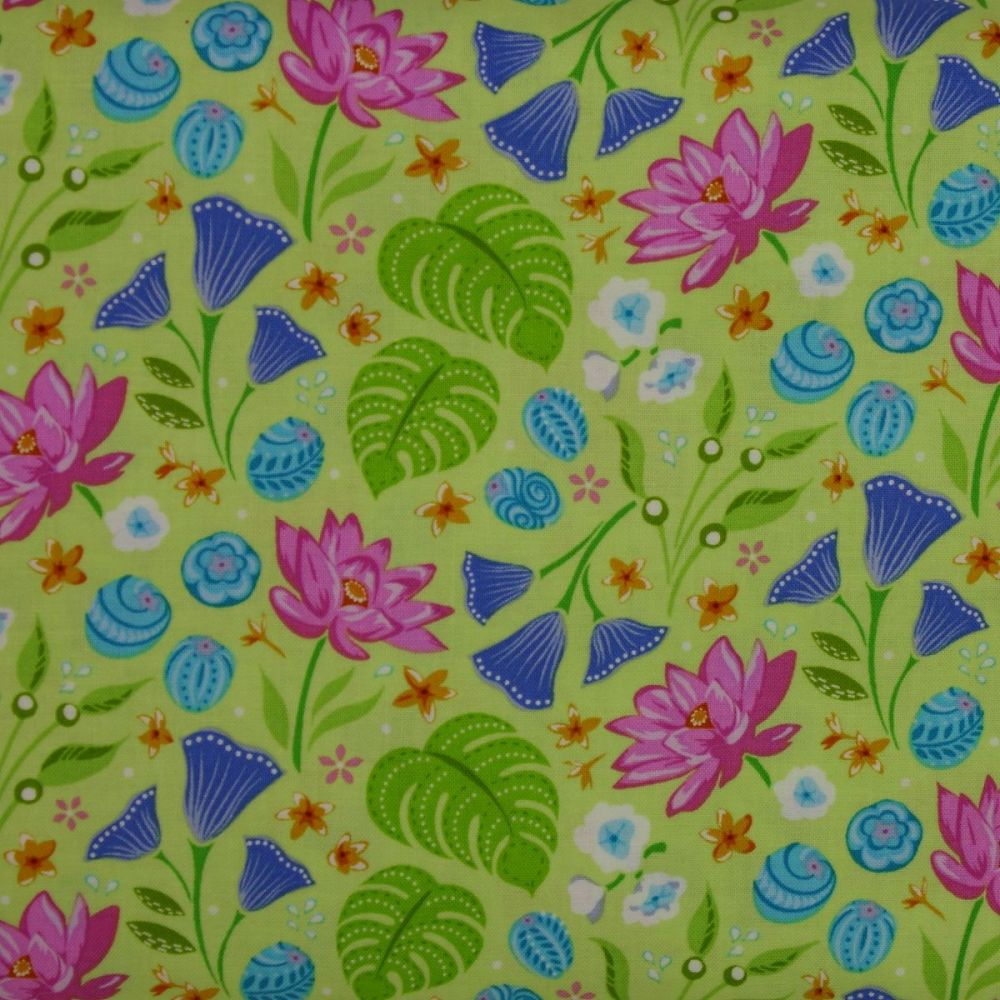 Crescendo Floral on Lime 100% Cotton Patchwork Quilting Fabric
