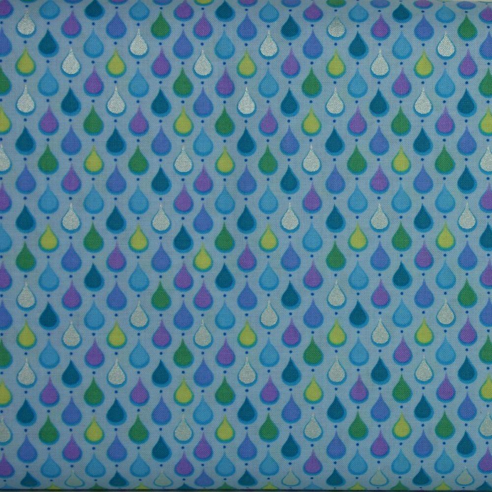 Crescendo Rain on Sky blue 100% Cotton Patchwork Quilting Fabric