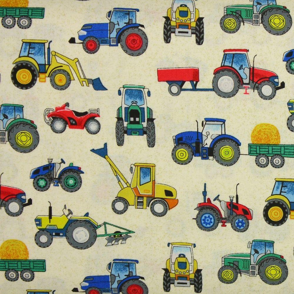 Makower Village Life Tractors on Cream 100% quilting cotton