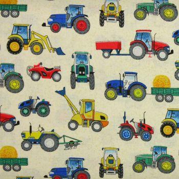 Makower Village Life Tractors on Cream 100% quilting cotton (£12pm)