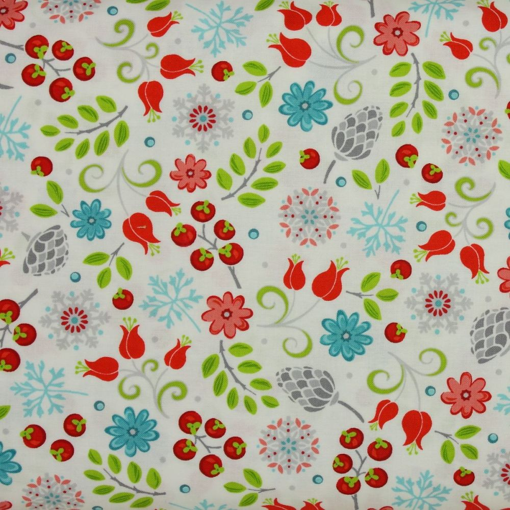 First Frost small floral print on white - 100% quilting cotton