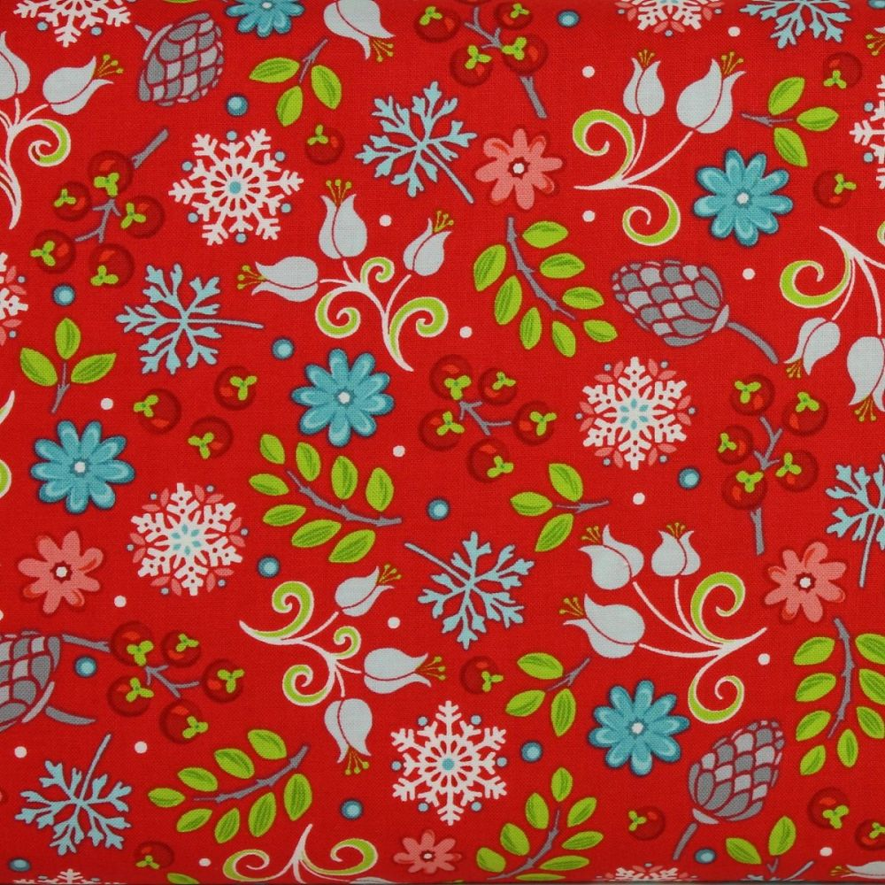 First Frost small floral print on red - 100% quilting cotton