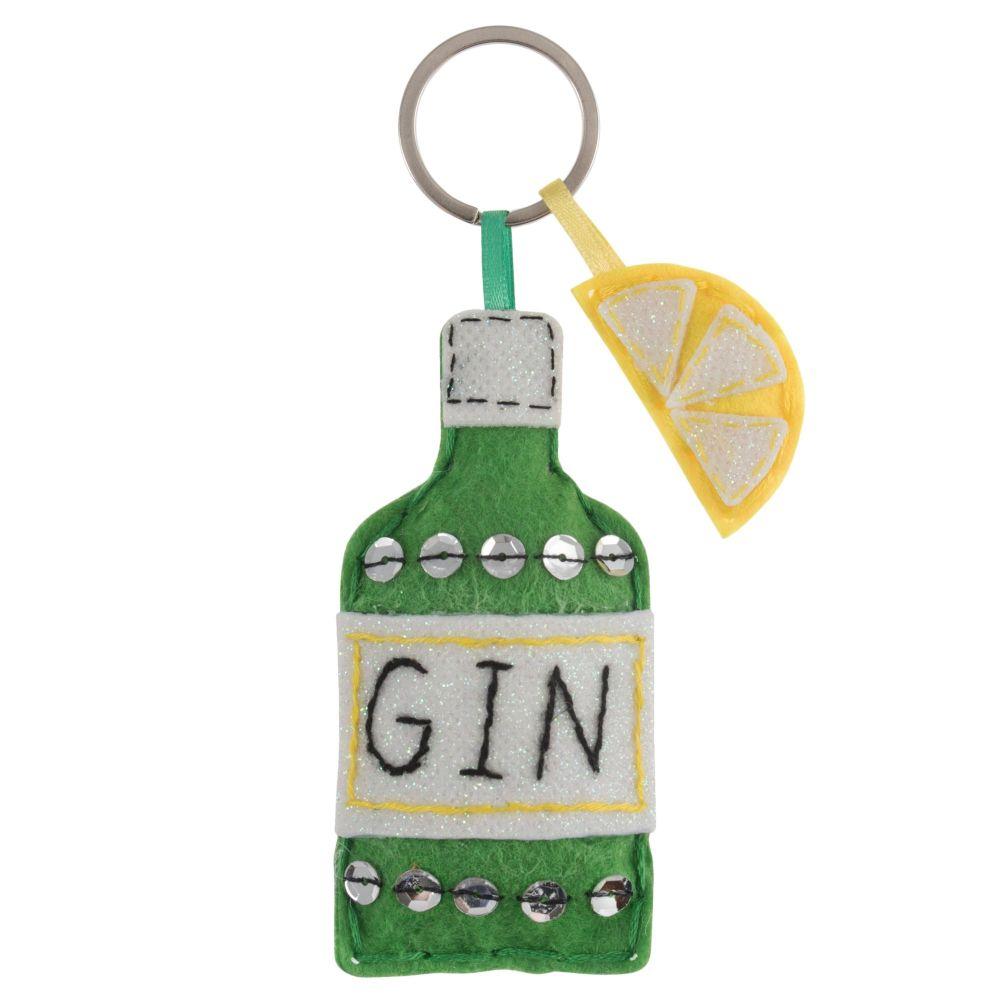 Gin Bottle Keyring Felt Kit