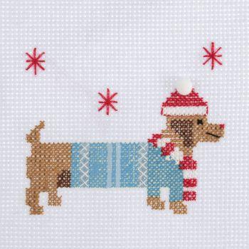 Mini Cross Stitch Kit - Festive Daschund