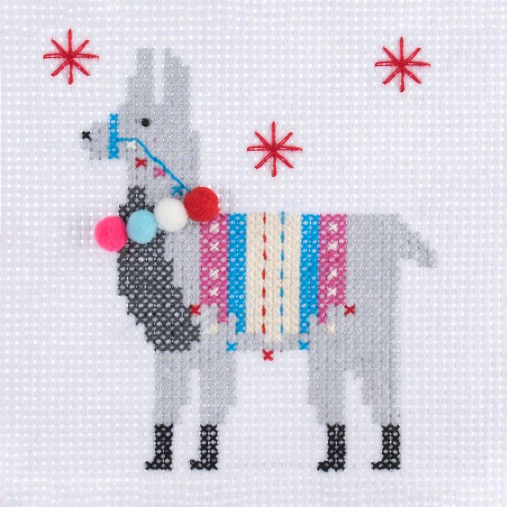 Mini Cross Stitch Kit - Llama