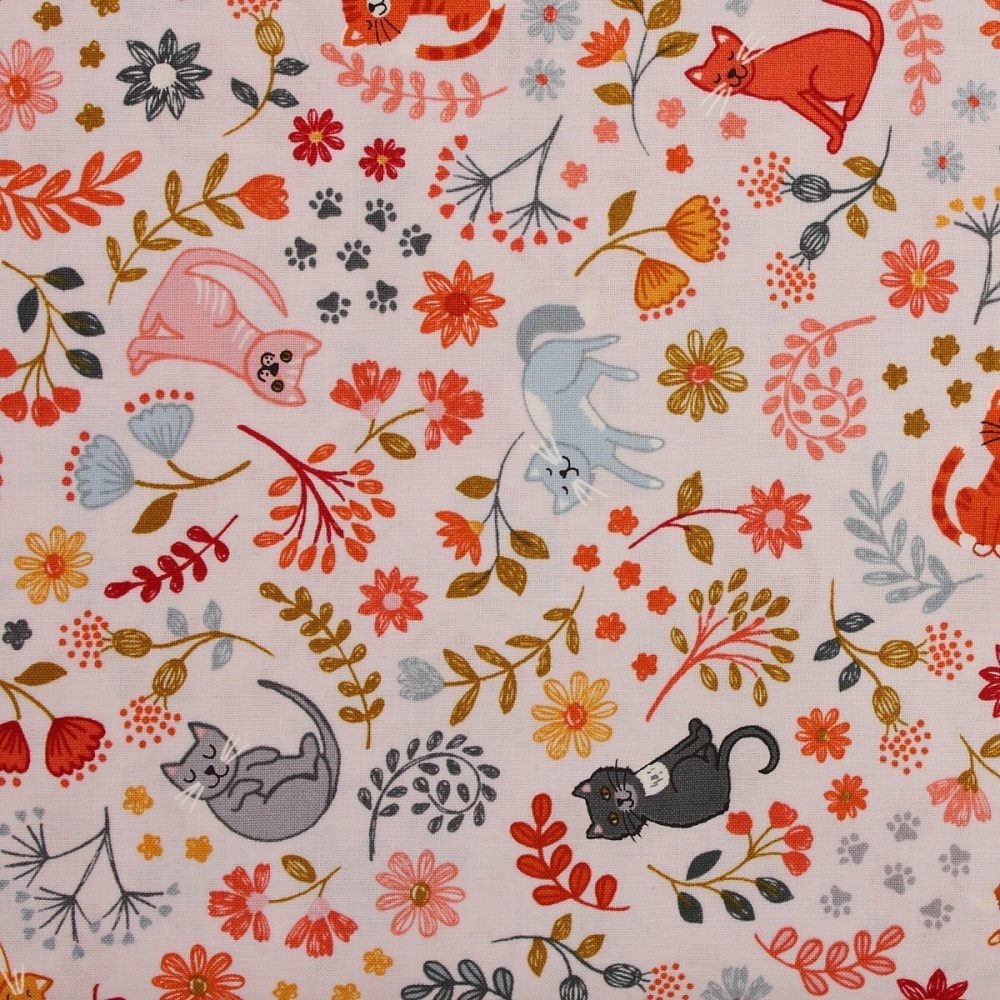 Lewis and Irene Purrfect Petals Floral Cats on Warm Cream