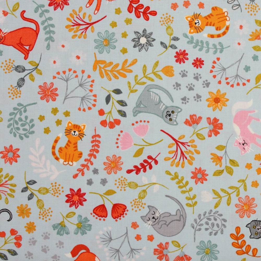 Lewis and Irene Purrfect Petals Floral Cats on Light Blue