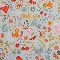 Lewis and Irene Purrfect Petals Floral Cats on Light Blue (£12.60pm)