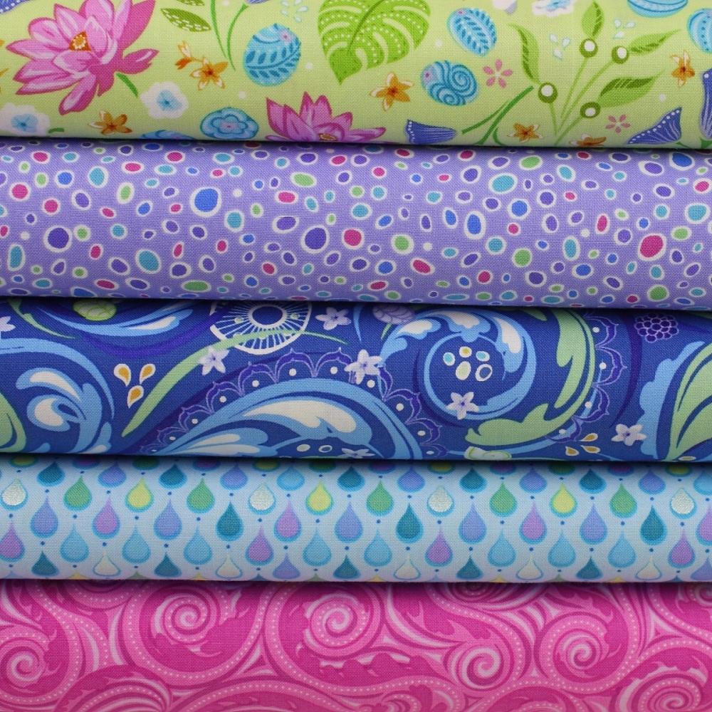 Crescendo 5-piece 100% Cotton Patchwork Quilting Fabric Bundle
