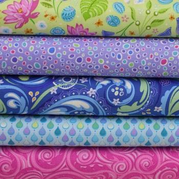Crescendo 5-piece Fat Quarter 100% Cotton Patchwork Quilting Fabric Bundle