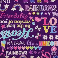 Benartex Unicon Magic, Magical words on purple (£13pm)