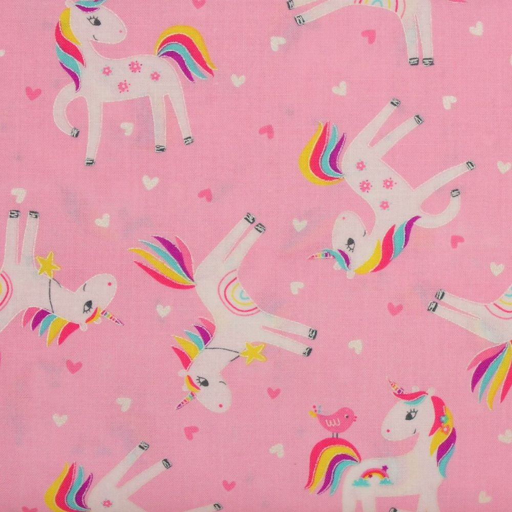 Benartex Unicon Magic, Unicorn Love on pink (£13pm)