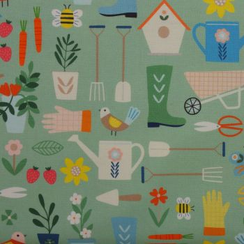 Hobbies Gardening 100% Cotton Patchwork Quilting Fabric (£12.60pm)