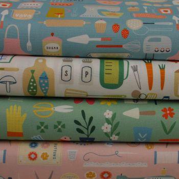 Hobbies 4 Fat Quarter Bundle 100% Cotton Patchwork Quilting Fabric