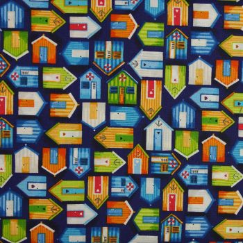 Makower Beside the Sea, Beach Huts on Blue 100% Quilting Cotton (£12pm)