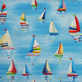Makower Beside the Sea, Sailboats on Blue 100% Quilting Cotton (£12pm)