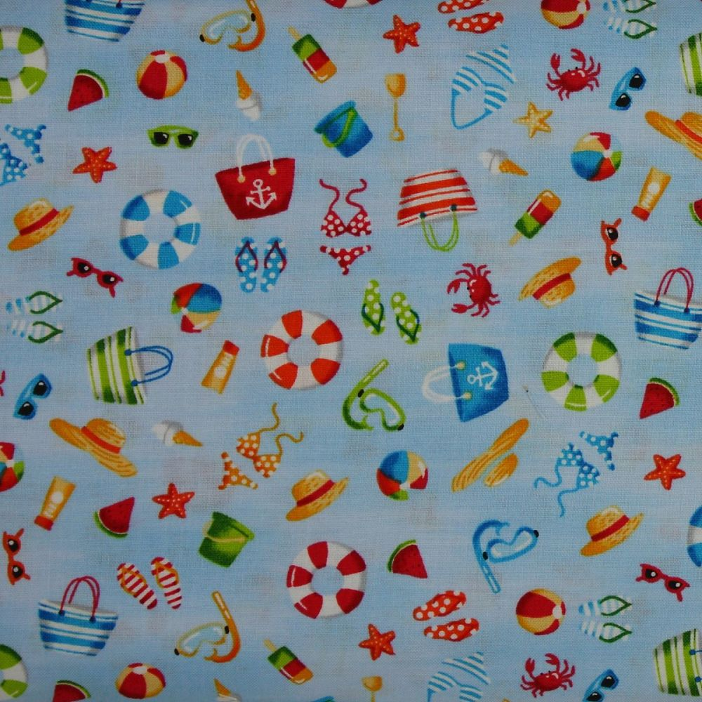 Makower Beside the Sea, Seaside Icons on Blue 100% Quilting Cotton (£12pm)
