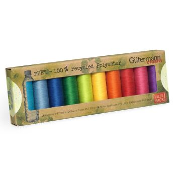 Gutermann (rPET) 100% Recycled Sew All Thread - box of 10 bright shades