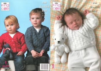 King Cole Knitting Pattern 2768 Baby Sweater, Cardigans and Teddy Bear