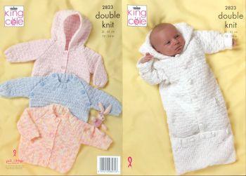 King Cole Knitting Pattern 2823 Baby Sweater, Jacket & Sleeping Bag