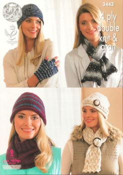King Cole Knitting Pattern 3443 Lady's Hats, Scarves, Cowl & Fingerless Gloves
