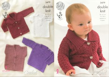 King Cole Crochet Pattern 3479 Collared Cardigan, Sweaters with long and short sleeves and Waistcoat